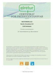 Certifikat WESTERBERG AS DK