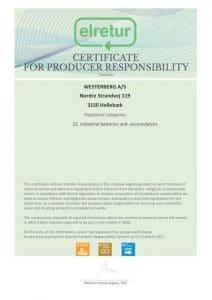 Certifikat WESTERBERG AS UK